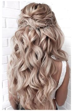 Half Up Wedding Hair, Half Up Half Down Hair Prom, Wedding Hairstyles Half Up Half Down, Long Hair Wedding Styles, Wedding Hairstyles For Long Hair, Wedding Hair And Makeup, Bride Hairstyles, Down Hairstyles, Long Hair Styles
