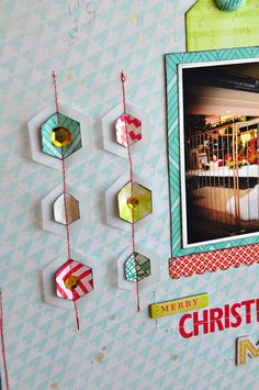 layered hexagons with vellum, sewing, and sequins. love this!