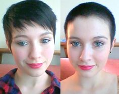 Pixie or Buzz? Buzz Cut Hairstyles, Short Hairstyles For Women, Cool Hairstyles, Pixie Haircuts, Before After Hair, Before And After Haircut, Super Short Hair, Girl Short Hair, Buzz Cut Women