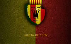 Download wallpapers Korona Kielce FC, 4k, football, emblem, logo, Polish football club, leather texture, Ekstraklasa, Kielce, Poland, Polish Football Championships