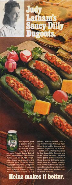Saucy Dilly Dugouts.  Pickle boats filled with chopped-up hot dogs.
