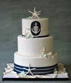 Nautical Wedding Cake With Starfishes: Beach Theme Wedding Cake Decorating Ideas Nautical Wedding Cakes, Nautical Cake, Themed Wedding Cakes, Beach Wedding Favors, Themed Cakes, Nautical Theme, Beach Weddings, Camo Wedding, Blue Wedding