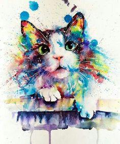Cat drawing, cat watercolour, watercolor cat tattoo, watercolor animals, ca Aquarell Tattoo Cat, Watercolor Cat Tattoo, Watercolor Animals, Watercolor Paintings, Cat Watercolour, Cat Drawing, Painting & Drawing, Diy Painting, Animal Paintings