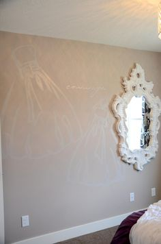 "painting images on walls - tone on tone: great way to ""decorate"" large walls in kids' rooms"