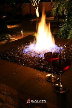 Glass fire pit.