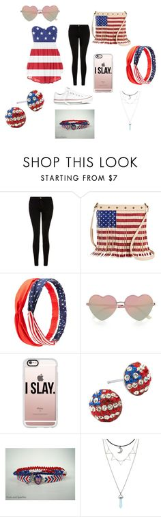 """4th of July fit  #2"" by monee-love ❤ liked on Polyvore featuring Current/Elliott, Twig & Arrow, Charlotte Russe, River Island, Casetify, Silver Treasures, Hot Topic and Converse"