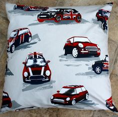 decorative pillow mini car union jack 26 cushion by RectoryLane