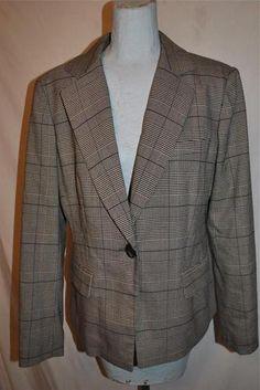 Womens Jones New York Black White 1 Button Lined Career Blazer Jacket 10 EUC