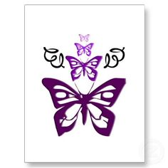 Purple Butterflies Postcard by Tribal Butterfly Tattoo, Butterfly Tattoo Designs, Purple Butterfly Wallpaper, Up Tattoos, Tatoos, Flying Flowers, Butterfly Images, Beautiful Fairies, All Things Purple