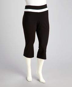 Take a look at this Black Capri Plus-Size Lounge Pants by Rainbeau on #zulily today! $14.99, regular 24.00