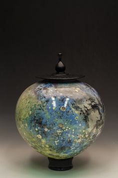 JasonPalmerArts.wordpress.com Sagger fired with Fumed soluble metal salts. Cobalt Chloride hexahydrate and Cupric(II) Chloride fuming