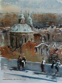 Sergiy Lysyy PRAGA Russian Art, Art Gallery, Watercolors, Artist, Artwork, Painting, Pastel, Google, Pen And Wash