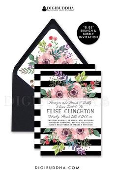 BLACK & WHITE STRIPE Brunch & Bubbly bridal shower Invitation with rainbow pink watercolor anemone flower blooms and sprigs. Also available as wedding invitations, baby shower invitations, even modern, boho chic anniversary invitations! With Kate Spade inspired bold black stripes and available matching envelope liner. Only at digibuddha.com