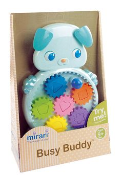 Mirari Busy Buddy Toy. Products that are great fun from children to adults. High quality toys and games. Games and toys that the whole family can enjoy. Removable shape-sorting and color-matching gears. Turn the tummy know and the gears rotate while the puppy's ears wiggle and eyes blink. Encourages hands-on exploration and delightful discovery. Develops fine motor skills, sensory development and cognitive learning. For ages 9 months and up; no batteries required.