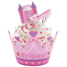 This Princess Cupcake Collar Wraps n Pix Set is a cute way to decorate cupcakes. These will look great on a Princess Birthday Themed party table. Princess Party Cupcakes, Princess Party Decorations, Cupcake Party, Cupcake Cakes, Cake Decorations, Daisy Cakes, Wilton Cupcakes, Cute Cupcakes, Ladybug Cupcakes