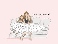 Mom and Daughter Art  Love You Most with by RoseHillDesignStudio