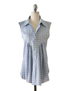 Women's Blue Plaid Blouse Refashioned from Men's Shirt