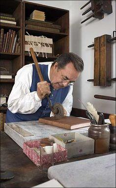 Master Bookbinder Bruce Plumley                                                                                                                                                      at his Williamsburg shop
