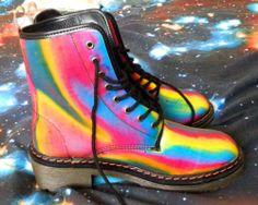 Best Boots Ever Holographic Lenticular Hologram Vintage Rainbow Doc Marten Cute | eBay