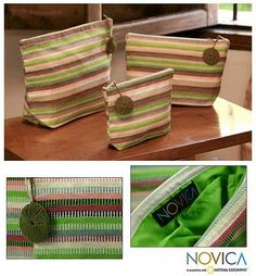 Cotton cosmetic bags - Strawberry Lime (set of 3) - NOVICA