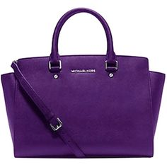 Pre-owned Michael Kors Large Selma Saffiano Leather Grape Satchel (£215) ❤ liked on Polyvore featuring bags, handbags, grape, pre owned handbags, michael kors satchel, satchel purse, accessories handbags and preowned handbags