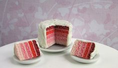 Polymer Clay Cake - Luscious Layered Red Velvet Cake Set- 1/12 scale. $39.20, via Etsy.