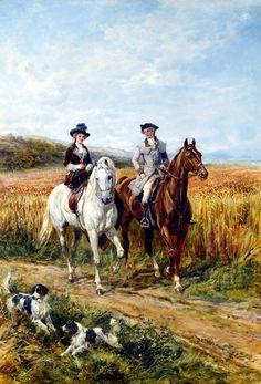 Couple Riding with Their Dogs - Heywood Hardy als Kunstdruck oder handgemaltes Gemälde. Fine Art Prints, Equestrian Art, Fine Art, Animal Art, Classic Paintings, Art, Victorian Paintings, Horse Art, Victorian Art