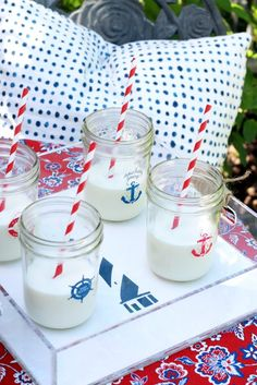 #DIY these nautical mason jars with #marthastewartcrafts paint in a patriotic palette! #12monthsofmartha