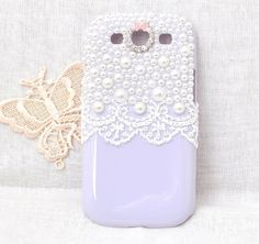 New style cell phone case for Samsung Galaxy S3 SIII i9300 Protective hard cover with  white pearls and lace