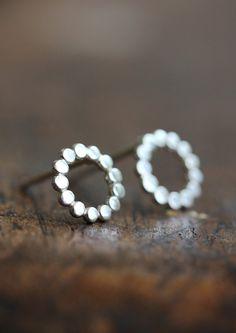 Silver+polka+dot+studs+modern+circle+everyday+by+BelindaSaville,+$35.00