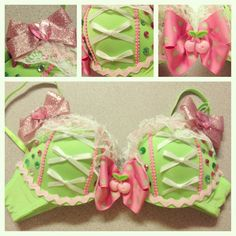 Green and pink cherry rave bra by bassbunnydesigns on Etsy on Wanelo Rave Costumes, Burlesque Costumes, Halloween Costumes, Festival Costumes, Fairy Costumes, Festival Outfits, Adult Costumes, Rave Festival, Festival Fashion