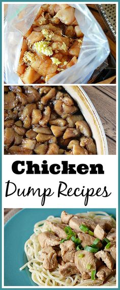 Easy and delicious dump chicken recipes that you can make ahead (super easy freezer meals). Dump cooking just means that you Dump your mix into a gallon freezer bag with your chicken & freeze it. Then when you want it you Dump it into a pan and cook it! Crock Pot Recipes, Easy Chicken Recipes, Slow Cooker Recipes, Cooking Recipes, Healthy Recipes, Dump Recipes, Cooking Tips, Freezer Recipes, Cooking Food