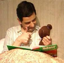 Mr. Bean reads to Teddy.