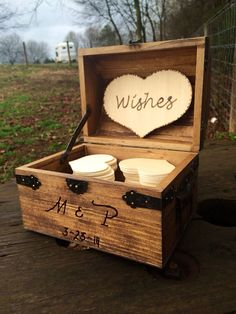 Personalized Rustic Wedding Wood Chest - Guest Book Alternative - Shabby Shic Wedding - Advice Box - Set for 50 Guests - Wishing Well Wedding Advice Box, Wedding Guest Book Alternatives, Wedding Planning, Wedding Ideas, Shabby, Rustic Wedding Guest Book, Wood Chest, Wishing Well, Wedding Wishes