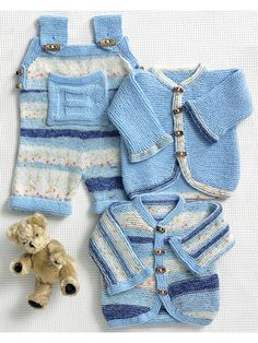 Your little one will love the cozy comfort of this darling set. Knit with 1 (1, 2, 2) skein(s) of King Cole Splash DK and 1 (1, 1, 1) skein of King Cole Big Value Baby DK for all designs, and U.S. sizes 3/3.25mm and 6/4mm needles.  Finished measureme...