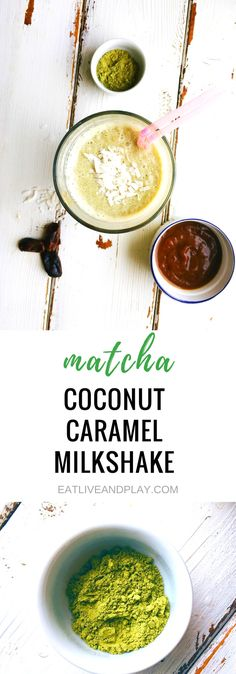 Matcha never tasted better in this delicious dairy free salted caramel milkshake made with coconut milk and antioxidant rich matcha. All the indulgence without the guilt! Healthy Holiday Recipes, Healthy Dessert Recipes, Healthy Baking, Healthy Drinks, Real Food Recipes, Vegetarian Recipes, Healthy Smoothies, Breakfast Recipes, Healthy Food