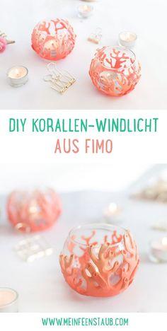 Kreative DIY-Idee zum Selbermachen: DIY Korallen-Windlicht mit FIMO oder Modelliermasse einfach selbst gemacht in der Trendfarbe Living Coral