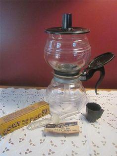 Cory Dru Coffee Maker Vacuum w Glass Filter Rod N RARE Measure Cup Clean Set | eBay