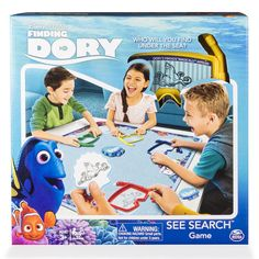 Join Dory and friends in a game of hide and seek with Finding Dory See Search from Spin Master Games. You and your friends each get a dive mask to uncover hidden images on the game board. When a character card is flipped over, race to find that find that image first. Find 3 hidden characters to win. Just keep swimming with Finding Dory Memory Match!