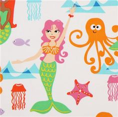 Accent fabric for girl nursery- white mermaid fabric and animal fabric Michael Miller 1