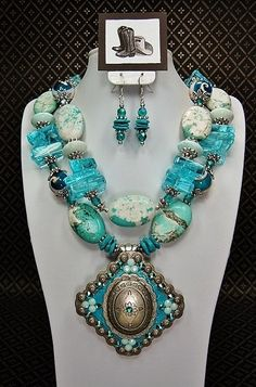 Aqua Turquoise Chunky Western Statement by CayaCowgirlCreations, $62.50