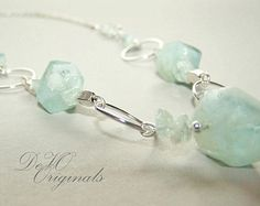 Aquamarine & Silver Gemstone Necklace, Statement Necklace, Beaded Jewelry