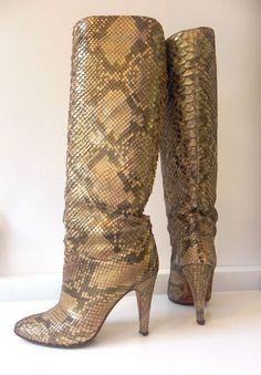 Sauro snake python highheels laarzen boots (1758)