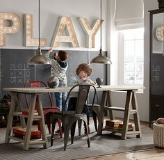 RH baby&child's Sawhorse Play Table:Inspired by an antique French architect's table, our trestle play table is sized for projects large and small. Oversize design seats four with plenty of workspace.