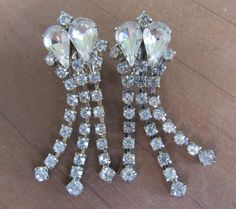 Rhinestone Dangle Earrings by KittyCatShop on Etsy, $8.99