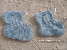 Desde o tempo da vovó...: 1,2,3 - Faça você mesmo - 3 Sapatinhos de Bebê em tricô