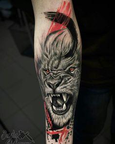 50 Eye-Catching Lion Tattoos That'll Make You Want To Get Inked super creative lion tattoo designs © tattoo artist Chehomova Dasha ha Lion Head Tattoos, Leo Tattoos, Animal Tattoos, Body Art Tattoos, Lion Leg Tattoo, Calf Tattoo Men, Tattoo Trash, Trash Polka Tattoo, Tattoo Girls