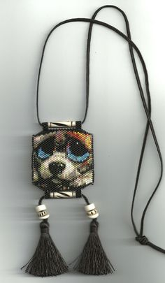 peyote beaded dog necklace