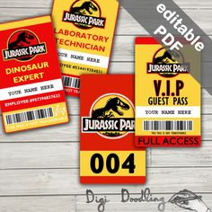 Jurassic Park Costume; Jurassic Park ID Badge, Visitor Pass, Vehicle Pass. Party Printables. (Editable PDF) by DigiDoodling on Etsy https://www.etsy.com/listing/260496427/jurassic-park-costume-jurassic-park-id