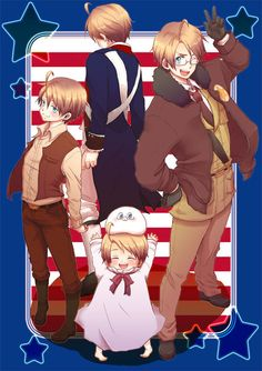 Hetalia America through the years.